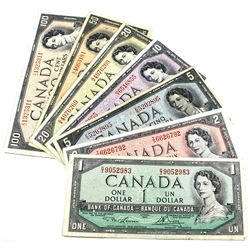 1954 $1 to $100 Bank of Canada Notes. You will receive $1, $2, $100 Lawson-Bouey signatures & $5, $1