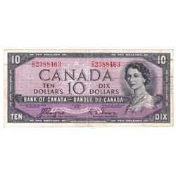 1954 $10 BC-32a Bank of Canada, Coyne-Towers, C/D2388463, VF. Note contains some staining and '49' w