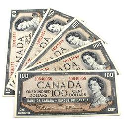 1954 $100 Bank of Canada Notes Beattie-Rasminsky Signatures B/J Prefixes. 5pcs