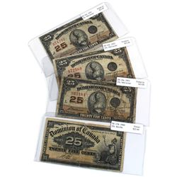Lot of 4x 25c Dominion of Canada Notes - 1900 DC-15b & 3x 1923 DC-24c All Fine Condition. Notes cont