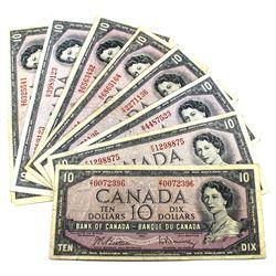 1954 $10 Bank of Canada Notes Beattie-Rasminsky Signature All Different Prefixes. 8pcs