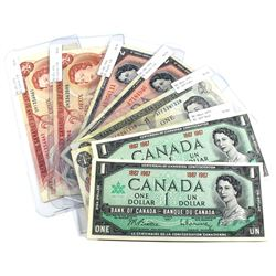Lot of $1 & $2 Bank of Canada Notes. You will receive 2x 1867-1967 $1 No Serial Number, 1973 $1 AFF