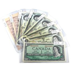 Lot of 1954-1986 $1 & $2 Bank of Canada Replacement Notes - 1954 $1 BC-37bA-i *B/M Prefix, 4x 1973 $
