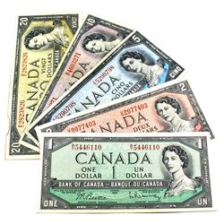 1954 $1 to $20 Bank of Canada Notes - $1, $5, $10 & $20 Beattie-Rasminsky signatures & $2 Lawson-Bou