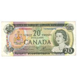 1969 $20 BC-50b Lawson-Bouey Note with Neat Serial Number YD9000090.
