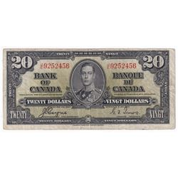1937 $20 BC-25c Bank of Canada, Coyne-Towers, J/E9252456, Fine. Note has some minor tears mostly in