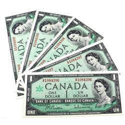 1967 $1 Bank of Canada Notes Beattie-Rasminsky Signature with Consecutive Serial Numbers G/P1084396-