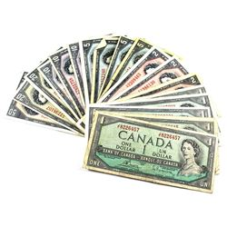 1954 $1 to $50 Bank of Canada Notes All Different Prefixes Except 3x $2 O/G Prefix. You will receive