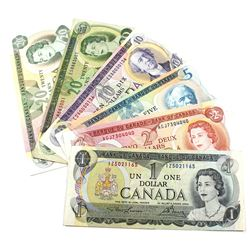 $1 to $20 Multi-coloured Series Bank of Canada Notes. You will receive 1973 $1 Lawson-Bouey, 1974 $2
