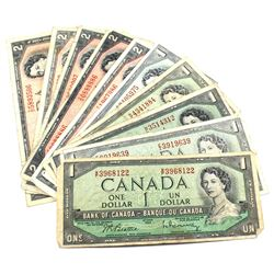 1954 $1 & $2 Bank of Canada Notes - 5x of Each Denomination. 10pcs