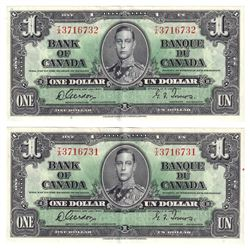 1937 $1 Bank of Canada Notes Gordon-Towers Signature with Consecutive Serial Numbers T/A3716731 & T/