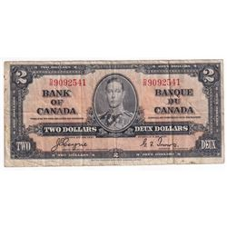 1937 $2 BC-22c, Bank of Canada, Coyne-Towers, D/R9092541, F-VF (Minor stain).