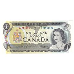 1973 $1 Bank of Canada, Lawson-Bouey Signature Note with 4 Digit RADAR Serial Number IU6953596, UNC.