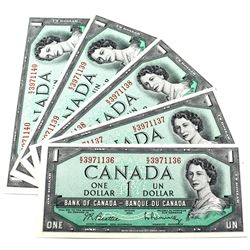 1954 $1 Bank of Canada Beattie-Rasminsky Signature Notes with Consecutive Serial Numbers K/Z3971136-
