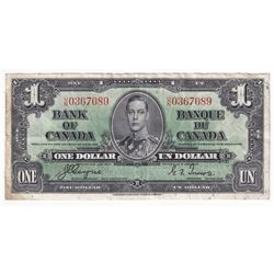 1937 $1 BC-21d, Bank of Canada, Coyne-Towers, U/N0367089, EF (Stain).