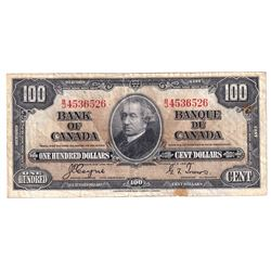 1937 $100 BC-27c Bank of Canada, Coyne-Towers, B/J4536526, VF. Note has some tears and stains.