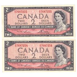 1954 $2 Bank of Canada Lawson-Bouey Signature Notes with Consecutive Serial Numbers R/G7687254 & R/G