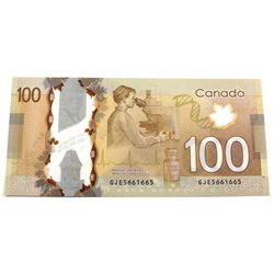 2011 $100 BC-73c Bank of Canada Note with 3 Digit RADAR Serial Number GJE5661665 UNC.
