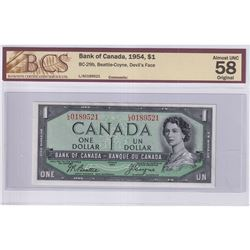 1954 $1 BC-29b, Bank of Canada, Beattie-Coyne, Devil's Face, S/N: L/A0189521, BCS Certified AU-58 Or