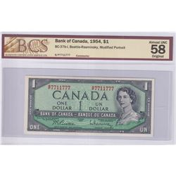1954 $1 BC-37b-i, Bank of Canada, Beattie-Rasminsky Note with Neat Serial Number B/P7711777, BCS Cer