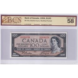 1954 $100 BC-43a, Bank of Canada, Modified Portrait, Changeover, S/N: A/J6108158, BCS Certified AU-5