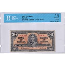 1937 $50 BC-26b, Bank of Canada, Gordon-Towers, Changeover, S/N: B/H3595644, CCCS Certified F-15. No