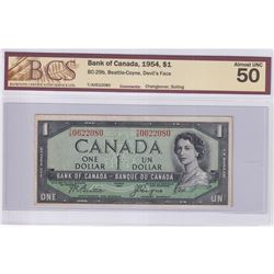 1954 $1 BC-29b, Bank of Canada, Beattie-Coyne, Devil's Face, Changeover, S/N: T/A0622080, BCS Certif