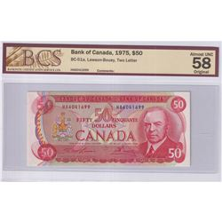 1975 $50 BC-51a, Bank of Canada, Lawson-Bouey, Two Letter, S/N: HA6041699, BCS Certified AU-58 Origi