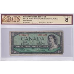 1954 $1 BC-37b, Bank of Canada, Beattie-Rasminsky Note with Neat Serial Number W/N7771677, BCS Certi
