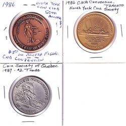 3x Canadian Numismatic Society Medals - 2x 1986 CNA North York Coin Club Convention Good for $3 on B
