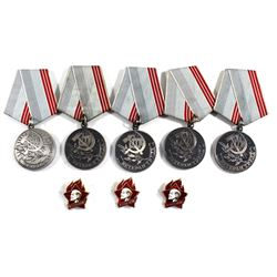 Lot of Vintage CCCP Russia Soviet 3A Betepah Tpya Medals with Enameled Lenin Pins. You will receive