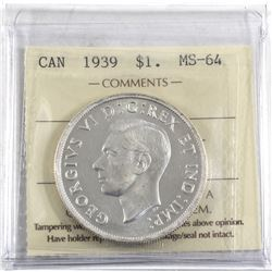 1939 Canada Silver $1 ICCS Certified MS-64.