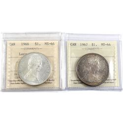 1966 Large Beads & 1967 Canada Silver $1 ICCS Certified MS-64. 2pcs