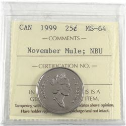 1999 Canada 25-cent November Mule ICCS Certified MS-64 Numismatic BU.