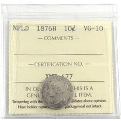 1876H Newfoundland 10-cent ICCS Certified VG-10.