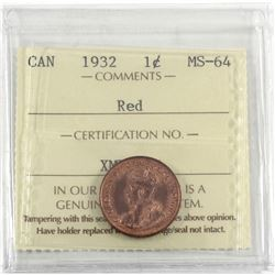 1932 Canada 1-cent ICCS Certified MS-64 Red.