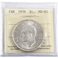 1938 Canada Silver $1 ICCS Certified MS-63.