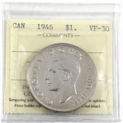 1946 Canada Silver $1 ICCS Certified VF-30.