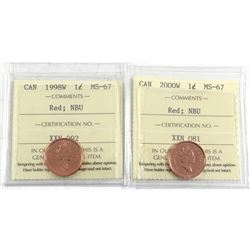1998W & 2000W Canada 1-cent ICCS Certified MS-67 Numismatic BU. 2pcs