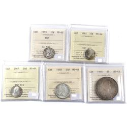 1953-1967 Canada 10-cent, 25-cent & Silver $1 ICCS Certified Coin Collection. 1953 10-cent NSF