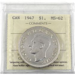 1947 Canada Silver $1 Maple Leaf ICCS Certified MS-62 (Cleaned, not on holder).