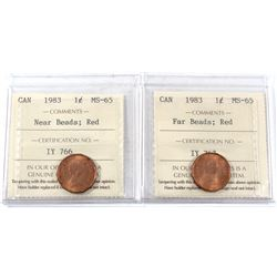1983 Canada 1-cent Far Beads & Near Beads ICCS Certified MS-65. 2pcs