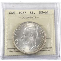 1937 Canada Silver $1 ICCS Certified MS-64.