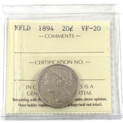 1894 Newfoundland 20-cent ICCS Certified VF-20.
