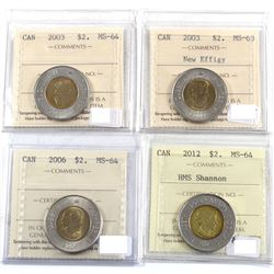 2003-2012 Canada $2 ICCS Certified - 2003 MS-64, 2003 New Effigy MS-63, 2006 MS-64 & 2012 HMS Shanno