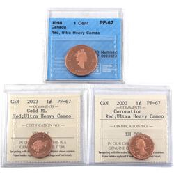 1998 CCCS & 2x 2003 ICCS Canada Commemorative 1-cent Certified PF-67 Red, Ultra Heavy Cameo - 1908-1