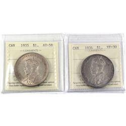 1935 Canada Silver $1 ICCS Certified AU-58 & 1936 Silver $1 ICCS VF-30. 2pcs