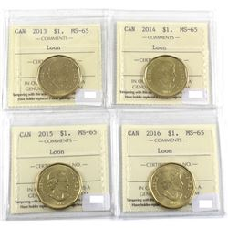 2013, 2014, 2015 & 2016 Canada Loon $1 ICCS Certified MS-65. 4pcs