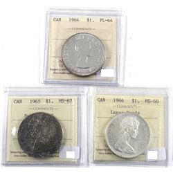 1964, 1965 & 1966 Canada Silver $1 ICCS Certified Collection. 1964 PL-64, 1965 Small Beads Pointed