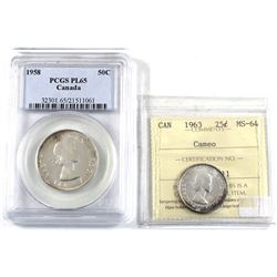 1963 Canada 25-cent ICCS Certified MS-64 Cameo & 1958 50-cent PCGS Certified PL-65. 2pcs